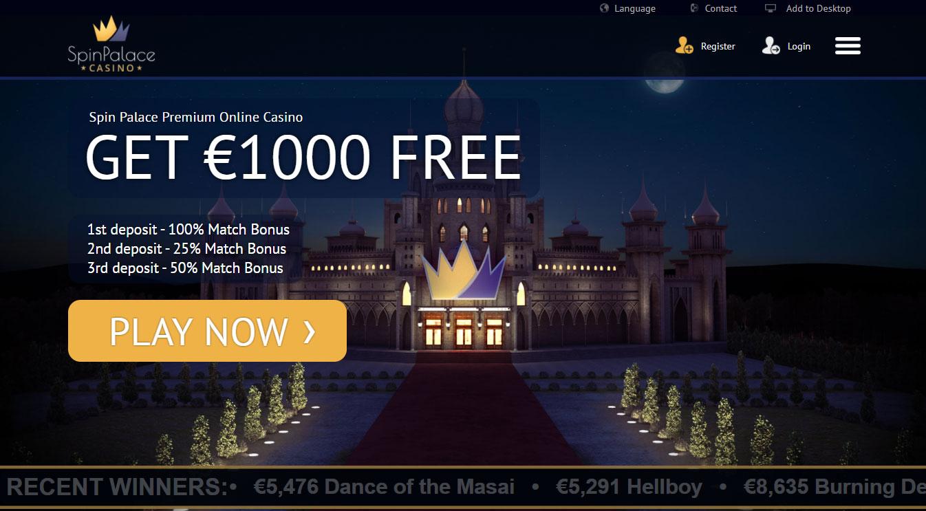 spin palace interface