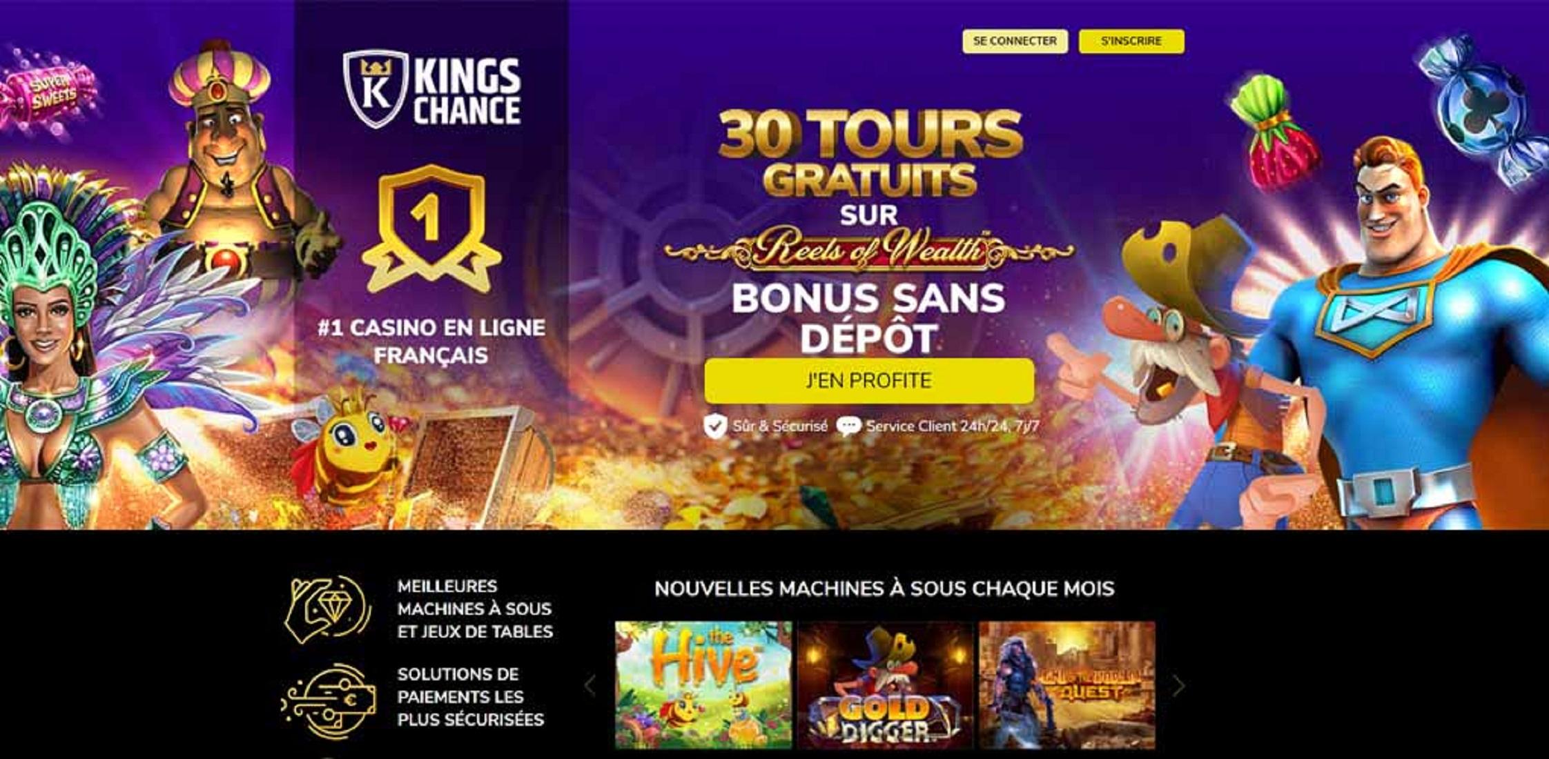 bonus et promotions offert par le casino kings chance
